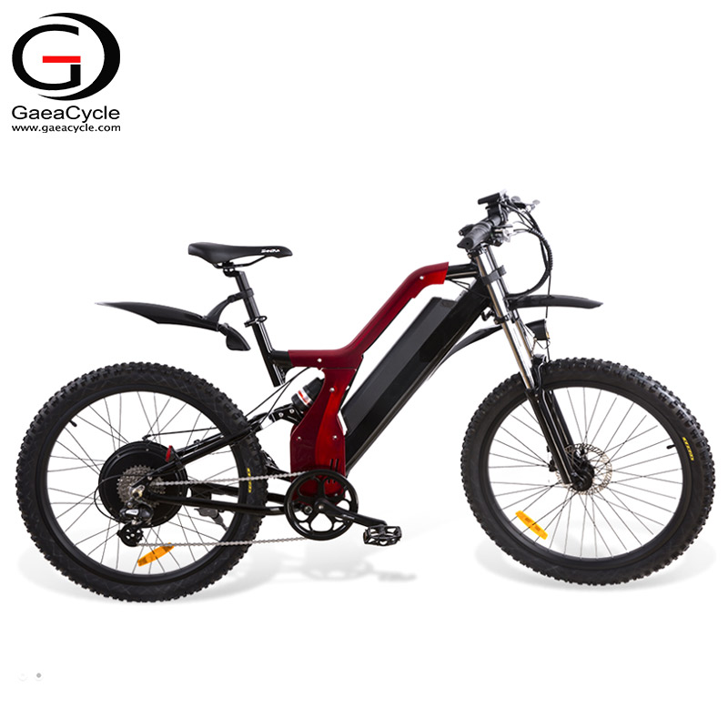 GaeaCycle Vintage Powerful Mountain Electric Bicycle e Bike Full Suspension